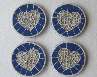 Mosaic coasters; love heart design; decorative and practical; sets available; your choice of colours