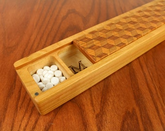 JUMBO Weekly Pill Box, Cubes Pattern Solid Cherry Hardwood, Paul Szewc, Masterpiece Laser