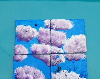 Tile coasters/hand-painted/set of 4/clouds