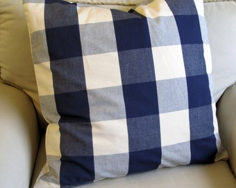 24x24 CASUAL CHIC cotton Blue Buffalo check large PILLOW cover