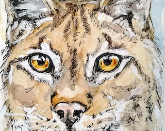 European lynx painting aceo card original watercolour painting, wild cats wildlife painting, an original ACEO card of a European lynx