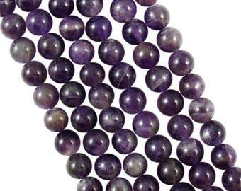 10 x 8mm Amethyst round beads