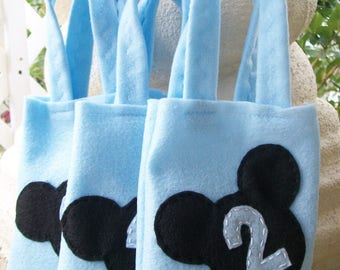 MICKEY MOUSE PARTY/ Felt party bags/ Set of 10 party bags/ party supplies/ candy bag