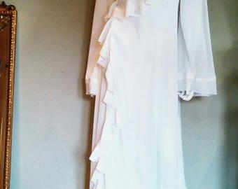 Dressing gown silk robe women's dressing gown silk dressing gown sheer robe white silk dressing gown long silk robe white ruffle robe Bride