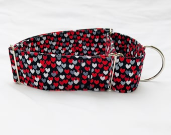 Tiny Hearts-Black Red Grey-Choose Buckle or Martingale Dog Collar-Small-Large Breed Dog-5/8-1 inch 1.5 -2 inch width-Traffic-Dog Leash