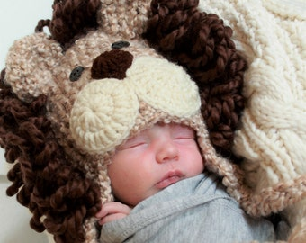 Lion Hat  - Baby Hat - Baby Costume Hat -  Baby Hats - Halloween Costume - Baby Lion Costume Hat - by JoJosBootique