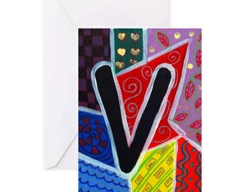 "ALPHABET LETTER ""V"" - 4 Greeting Cards By Artist A.V.Apostle"
