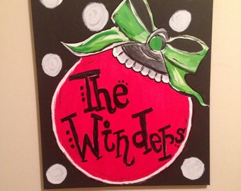 16x20 Christmas Ornament Painted Canvas that can be Personalized