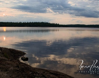 Boundary Waters, Sunset Photography, Reflection Art, Cloudy Reflection, BWCA Prints, Minnesota Art, Interior Design, Nature Landscape