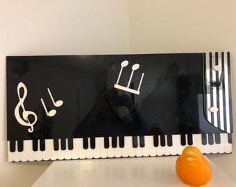 "LUCITE PIANO ART, 31.25""  x 15"" x .5"", Vintage Lucite, Mid Century Modern, Musical Notes, Music at Modern Logic"
