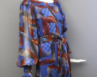 70s STAVROPOULOS space age rubix cube print geometric chiffon DRESS and scarf vintage 1970s