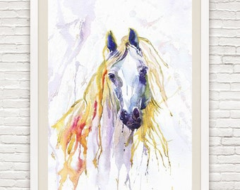 Horse Art Watercolor Animals Painting Print , Wall Art, Animal art, Equestrian Gifts, Equine Art, Watercolour Illustration, horse lover