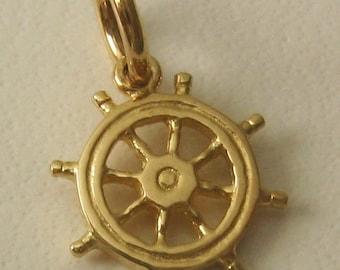 Genuine SOLID 9K 9ct YELLOW GOLD 3D Ship Wheel Helm charm/pendant
