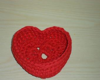 Crochet heart red webbing BASKET