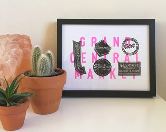 2016 Grand Central Market Los Angeles, Framed or Unframed Letterpress Print