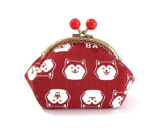 shiba inu dog, metal frame purse, kiss lock purse