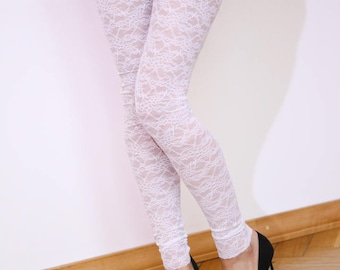 SALE 10% OFF Bridal tights Delicate white lace tights Bridal shower present Bridesmaid gift White lace leggings Bridal white tights