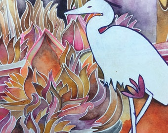 Autumn Heron Print by Megan Noel