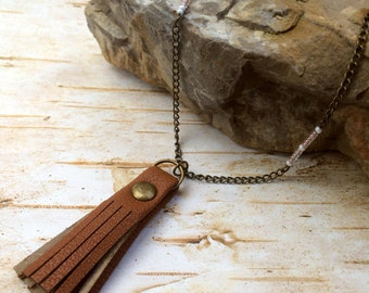 Long Brass Necklace - Brown Leather Tassel - Pink White Beaded Accents - Layer - Boho - Hippie - Gypsy