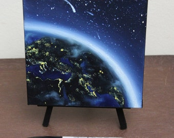 """6x6"""" Mini Original Oil Painting - Earth Mini Painting - Space Wall Art Office Gift"""