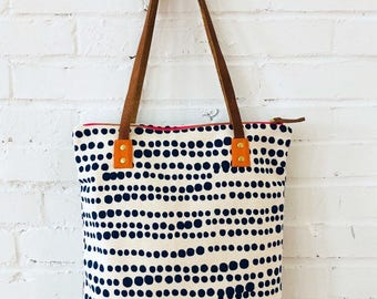 HILARY NAVY Bark Cloth Mod Tote with Leather Straps