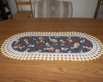 Crochet, Snoopy Table Runner Charlie Brown Table Runner, Childrens Dresser Scarf, Fabric Center Crocheted Edging, Lace Centerpiece