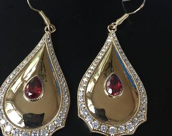 Gorgeous Gold Tone Rhinestone Tear Drop Dangle Earrings Bellezza with Teardrop Ruby Crystal Center Stone
