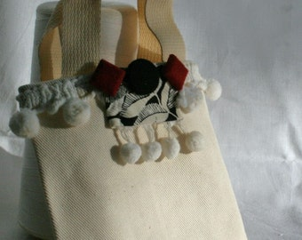 Tote Bag Vintage Fabric Mini Black White Red OOAK