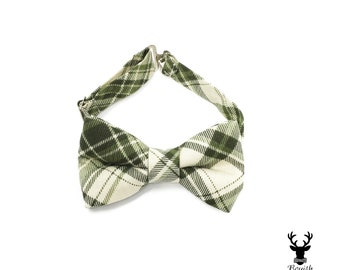 Boys Green Bow Tie, Green Plaid Bowtie, Toddler Bow Tie, Boys Bowtie, Rustic Wedding Bow Tie, Infant Bow Tie, Boys Formal Wear, Ring Bearer