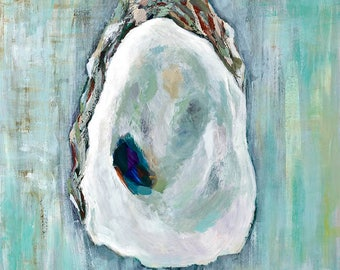 Oyster on Aqua, 11 x 14 Signed Large Print of Original Acrylic Painting