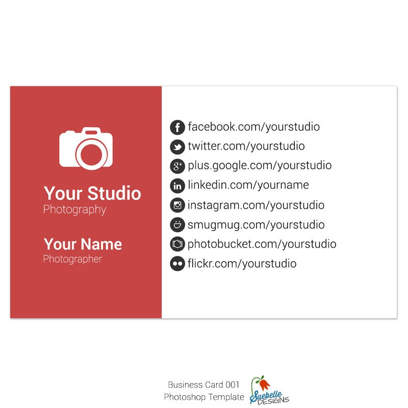 Business Card Photoshop Template 001 for Professional Photographers ...