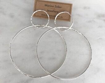 Large Double Hoop Earrings in Sterling Silver, Big Hoop Earrings, Large Silver Hoops, Hammered Hoop Earrings, Statement Hoop Earrings