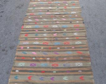 free shipping VINTAGE TURKİSH adana oerlon cecim kilim Anatolian handwoven kilim rug decorative kilim  SİZE : 46'' X 155''( 115 cm X 387 cm)
