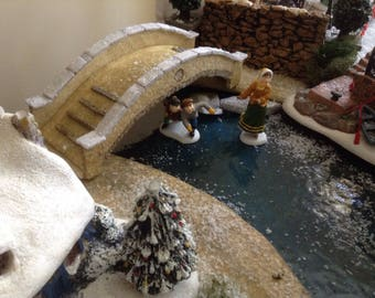 Styrofoam Footbridge, Xmas village bridge, miniature bridge, model train bridge,