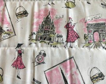 Paris themed duck cloth remnant