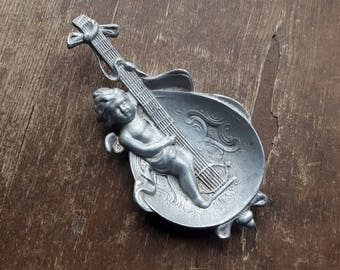 Old Germany Aluminum Ashtray Angel,Boy with Music Instrument Ring Dish,Old Amor Pin Dish