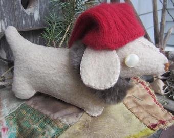 DACHSHUND WEINER DOG~ Doxie~ Sausage Dog~ Folk Art~ Mother's Day Gift~ Up cycled~ Gnome Dog~ Dashshund~ Made To Order~ Dog Handmade Gift~