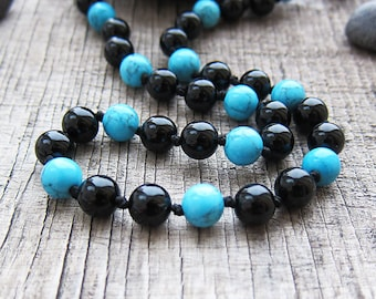 Agate necklace Mens necklace Male necklace for men Beaded necklace Ethnic necklaces Tribal Jewelry for Men onyx necklace Blue and black