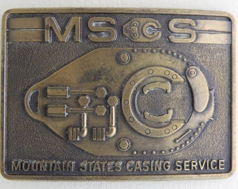 Mountain States Casing Service Belt Buckle MScS Mechanic Miner Excavator Machinist Cast Brass Buckle