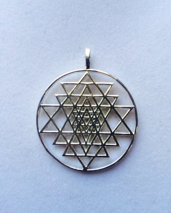 Sri yantra pendant made in 925 sterling silver sacred like this item aloadofball Image collections
