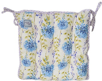 Provence Cotton Chair Cushion with Ties, Meadow Flowers