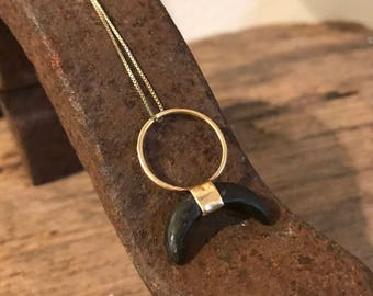 Natural beach stone crescent moon necklace in gold