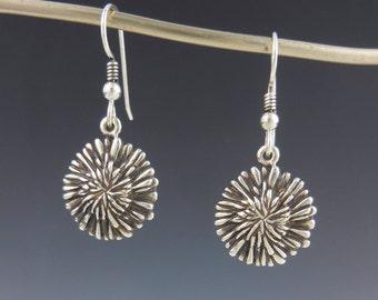 Sterling Silver Dandelion Earrings, Flower Earrings, Silver Dangle Earrings, Artisan Jewelry, Handmade Jewelry, Silversmith,  Metalsmith