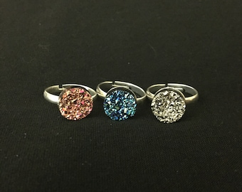 Acrylic Pink, Blue, Silver Druzy Rings! Adjustable Ring Size! Druzy Jewelry! Druzy Rings!