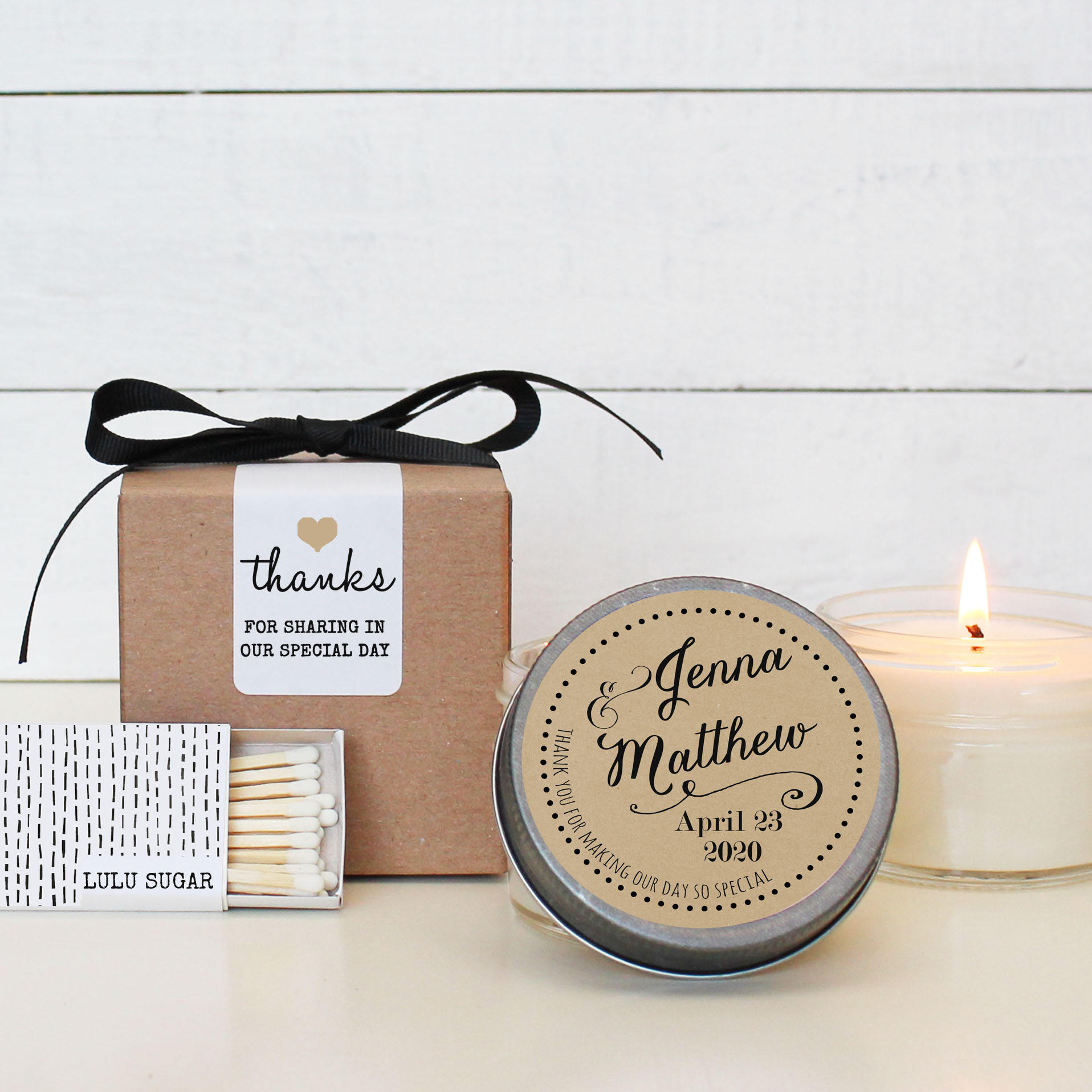 Set of 6 4 oz Soy Candle Wedding Favors Jenna Label Design
