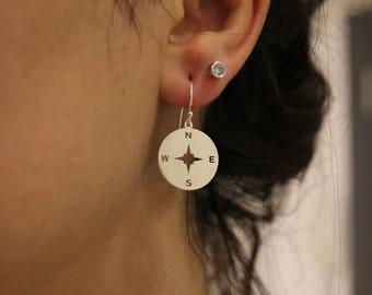Compass Earrings, Dangle Earrings, Dainty Earrings, Compass Charm Earrings, Silver Earrings, Wanderlust Earrings, Compass Jewelry