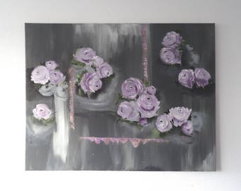 Flower painting, floral painting, gift for her, contemporary art, large painting, oil painting, painting on canvas, modern painting, gift