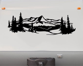 Lake Trees Mountains RV Camper Vinyl Decal- Sticker Graphic- Custom Text Mural- Motorhome Replacement Decals- RV Stripe Kit-