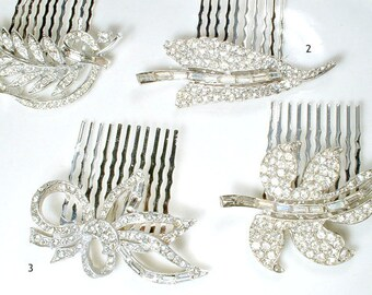 OOAK Vintage Wedding Bridesmaid Jewelry Gift, 1 2 3 4 Set Silver Rhinestone Leaf Hair Combs Bridal Hairpiece Art Deco Glam Brooch Headpiece