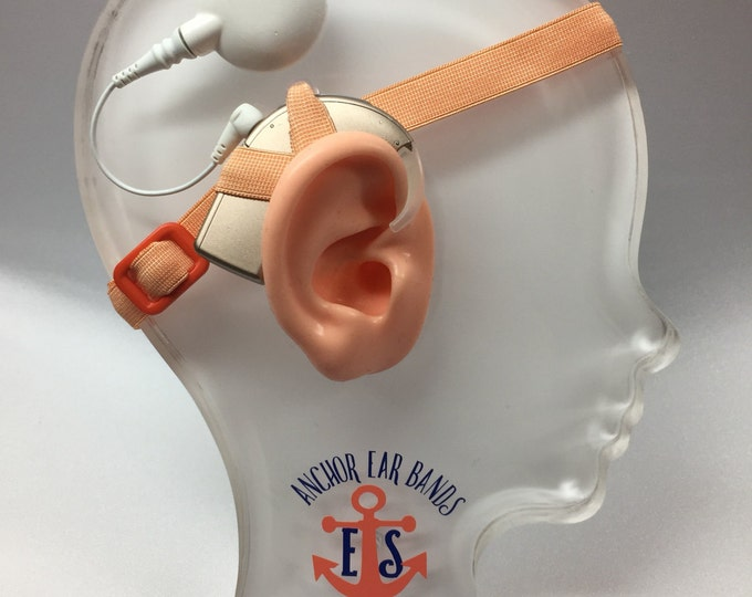 Peach - Cochlear Implant Heaband - Adjustable Length - Silicone Grip Sleeve - Non Slip Grip  - Unilateral, Bilateral, Bimodal options